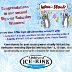 Our last Sign-Up Saturday at Siskiyou Ice Rink is Nov 19